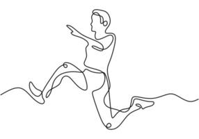 dessin au trait continu du saut en longueur de l'athlète. exercice de jeune athlète énergique pour atterrir sur la piscine de sable après avoir sauté illustration vectorielle, style minimalisme. vecteur