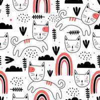 modèle sans couture avec dessin scandinave mignon chatons colorés. style unique dessiné main enfantin créatif. bon pour l'impression textile de mode bébé et enfants. tissu d'élément d'illustration vectorielle prêt.