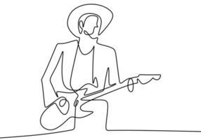 dessin continu d'une ligne d'un homme avec une guitare acoustique jouant un bon son. jouer pour divertir le public. profiter avec de la musique. dessin d'une ligne continue concept interprète. illustration vectorielle vecteur