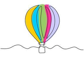 ballon à air de style une ligne dans les nuages. ballon à air dans le ciel. concept de voyage créatif de minimalisme. illustration vectorielle isolée sur fond blanc. vecteur