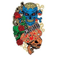 crâne de grunge vintage coloré vecteur