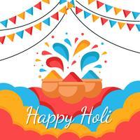 Joyeux Holi Festival de vecteur de couleur