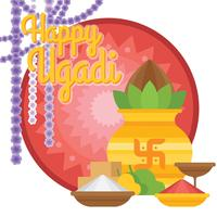 Illustration d'Ugadi vecteur