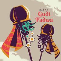 Gudi Padwa célébration de l'Inde Illustration vecteur