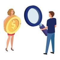 couple avec pièce de monnaie et loupe