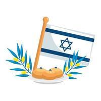 drapeau israël avec du pain et des branches