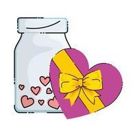 cadeau et bouteille avec icône isolé de coeurs