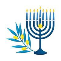 Lustre avec bougies et icône isolé de branche d & # 39; olive
