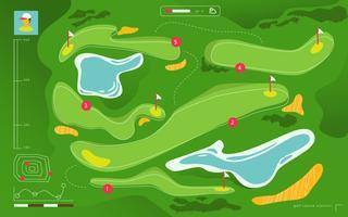 Vue aérienne de terrain de golf Carte de tournoi vectorielle plane Illustration vecteur