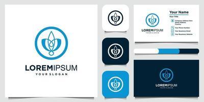 logo et carte de visite de style art ligne rose fleur élégante minimaliste vecteur