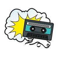 cassette avec icône de style pop art nuage
