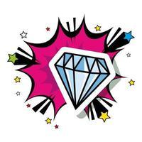 diamant avec icône de style pop art explosion