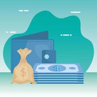 factures argent dollars avec portefeuille et sac