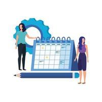 jeunes femmes avec des personnages de calendrier