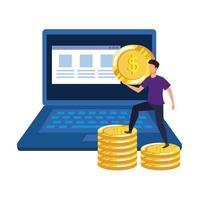 jeune homme avec ordinateur portable et argent