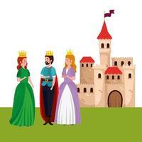 roi avec princesses et château