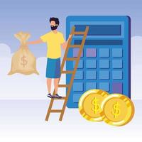 jeune homme avec calculatrice et escalier