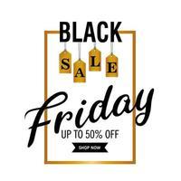 lettrage de vente vendredi noir en cadre de forme carrée dorée et lettres suspendues