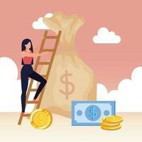 femme avec sac d & # 39; argent et escaliers