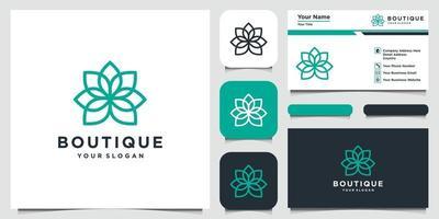 fleur abstraite avec création de logo de style art en ligne et carte de visite