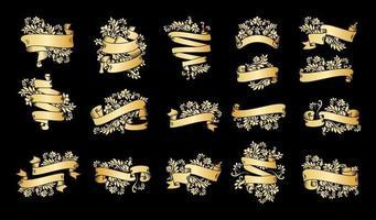 bannières de ruban vintage or sur fond noir