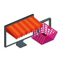 panier shopping et ordinateur avec parasol