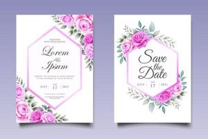 modèle d'invitation de mariage floral beau dessin à la main