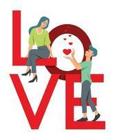 la femme et l'homme sont sur un grand mot d'amour et de flirt.