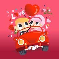 super joli couple amoureux en voiture