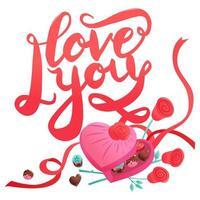 bonbons sucrés de la Saint-Valentin chocolats coeur boîte d'amour