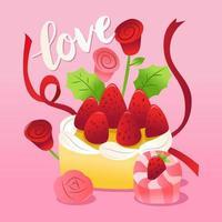 gâteau aux fraises avec des roses et des rubans.