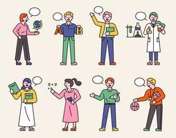 une collection de personnages d'enseignants dans diverses matières.