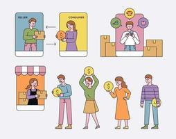 concept de centre commercial mobile. vecteur