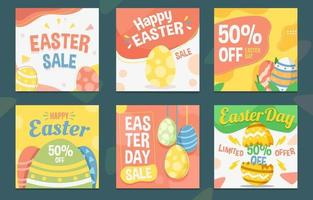 joyeuse promotion des médias sociaux pour le jour de pâques vecteur