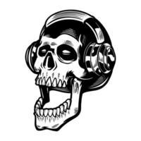 crâne dessiné à la main, écouter de la musique dans les écouteurs. tête morte vintage sur fond blanc. conception de t-shirt thème halloween. imprimer des vêtements, des affiches et d'autres utilisations. illustration vectorielle