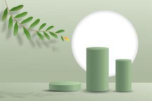Scène minimale abstraite sur fond pastel avec podium cylindre et feuilles