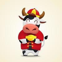 joyeux nouvel an chinois 2021 zodiaque bœuf avec joli personnage de taureau