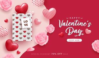 joyeux fond de Saint Valentin ou une bannière avec de beaux éléments.