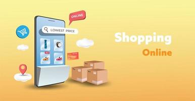 boutique en ligne sur le site Web et la conception de téléphones mobiles. concept de marketing d'entreprise intelligente. vue horizontale. illustration vectorielle.