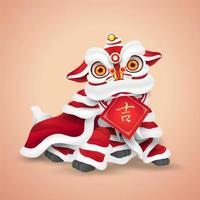 danse du lion du nouvel an chinois. dessin animé de personnage heureux et mignon. isolé. vecteur