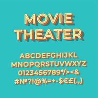 Ensemble d'alphabet de vecteur 3d vintage de cinéma