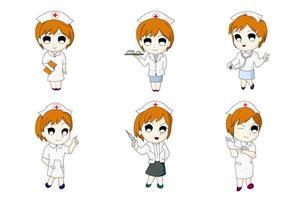 ensemble d'anime infirmière six bundle vecteur