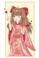 Belle fille anime aux cheveux bruns portant un kimono rose et un ruban de cheveux rouges