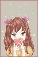 fille aux cheveux bruns de style anime avec fond coeur et étoile