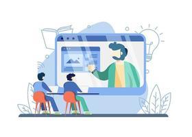 concept de séminaire web éducatif vecteur