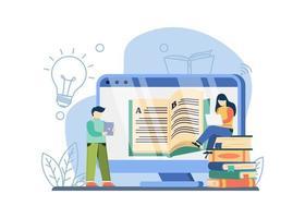 concept de bibliothèque numérique vecteur