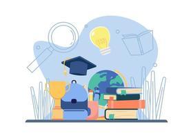 route de l'éducation vers le succès Pile de livre, trophée, sac école, globe terrestre icône de l'éducation et de l'apprentissage. Convient pour la page de destination, l'application mobile, l'autocollant, l'affiche, le dépliant, l'article et la bannière. vecteur