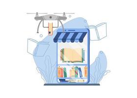 concept d'expédition de librairie en ligne vecteur