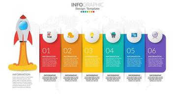 Infographie de démarrage en 6 étapes avec lancement de fusée. concept commercial et financier. vecteur