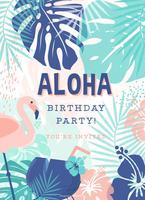 Invitation de vecteur de fête d'anniversaire créative polynésienne